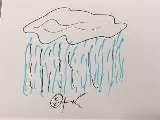 Piirustus, jossa pilvestä sataa vettä maassa makaavan tikku-ukon päälle
