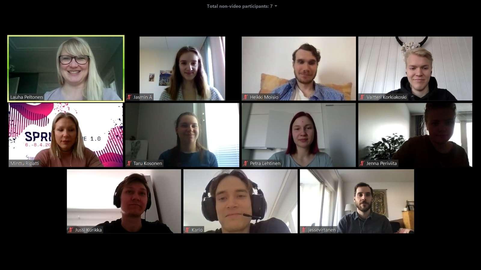 Sprint Online -työskentelyä, ihmisiä videopuhelussa