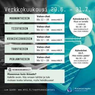Mielenterveyden keskusliiton kurssit ja tapahtumat verkossa heinakuussa.